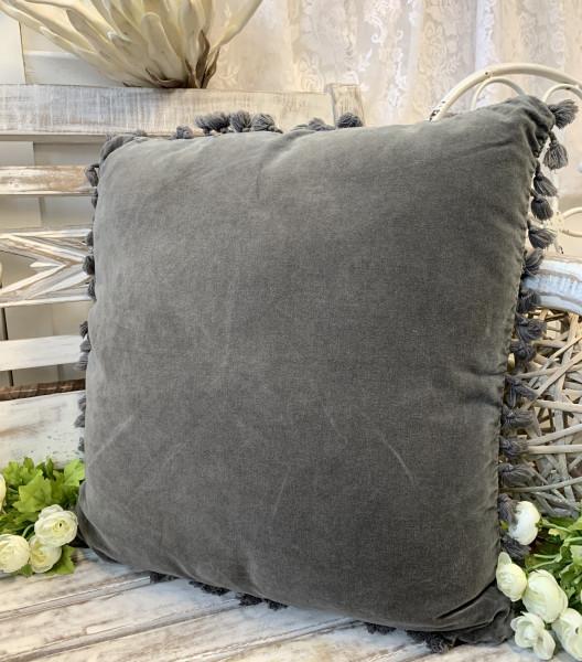 B Ware Kissen Bezug Hülle FANNY Grau 45 x 45 cm Samt Troddeln Baumwolle Landhaus