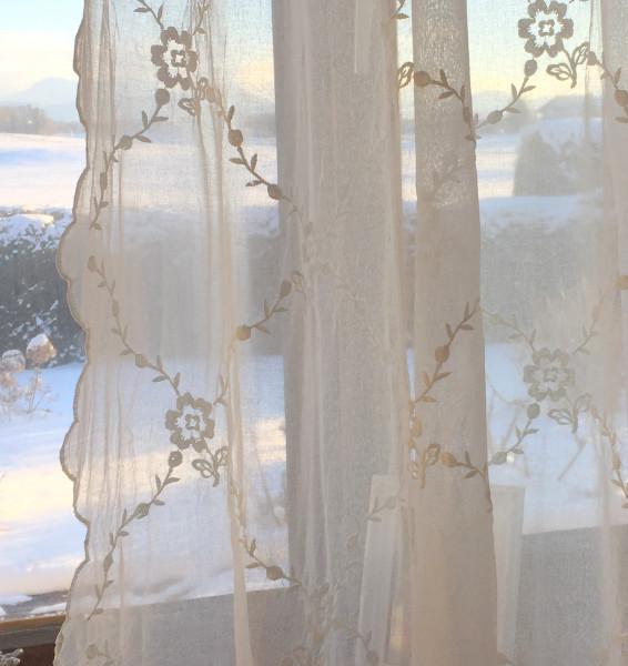 Gardinen Schal CHIARA Bestickt Offwhite 200x300 cm Shabby Vintage Landhaus Shabby Vintage