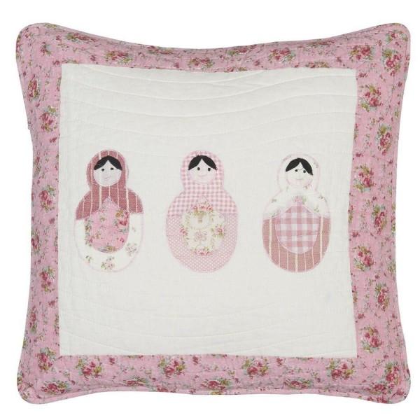 kissenbezug matroschka 50x50 cm rosa wei kissenbez ge kissen zauberhafter landhausstil. Black Bedroom Furniture Sets. Home Design Ideas