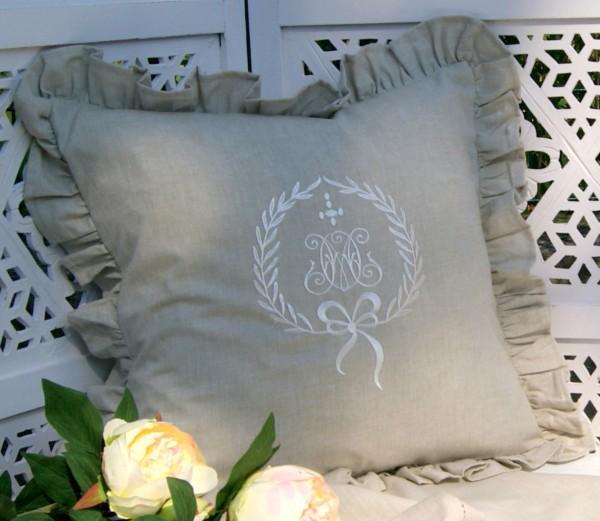 Kissenbezug AMALIE SAND 45x45 cm Creme bestickt Baumwolle