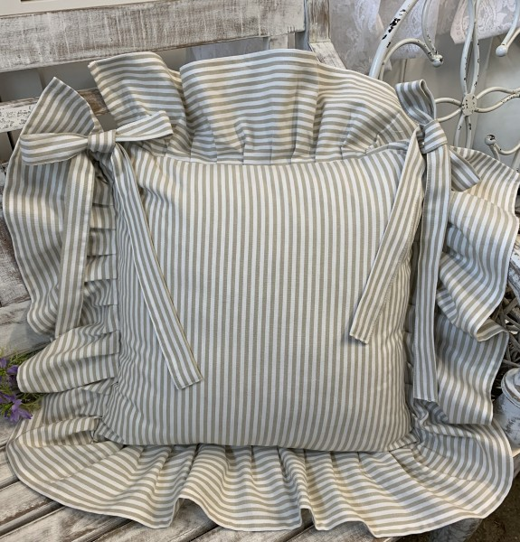 Stuhlkissenbezug PAMELA Sand Creme Streifen Volant an 4 Seiten Baumwolle Gestreift Landhaus