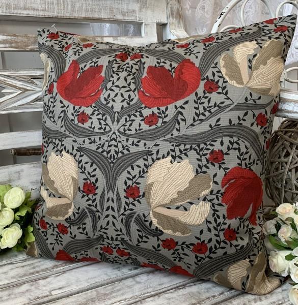 Kissen Bezug Hülle TALIA Rot Grau Sand 45 x 45 cm Baumwolle Landhaus