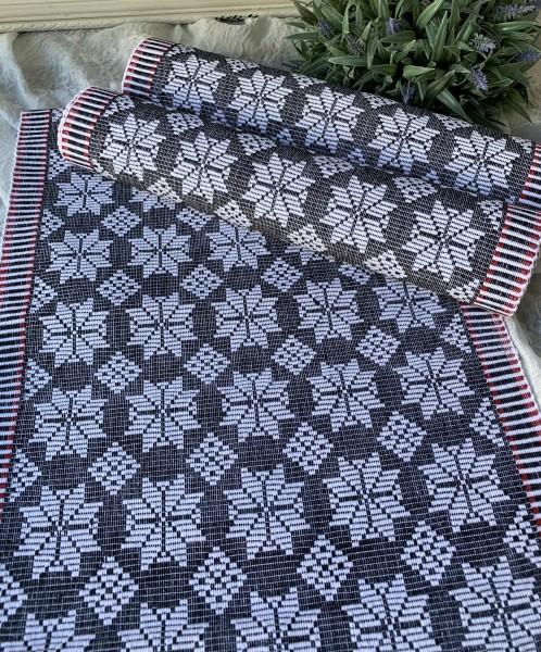 Tischläufer JONAS Schwarz Weiß Rot 35x120 Baumwolle