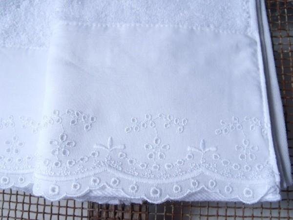 Handtücher Landhausstil gästehandtuch flower white weiß lochstickerei 30x50 cm handtücher