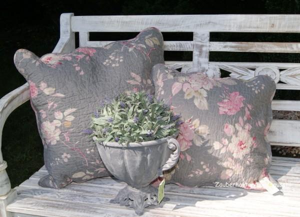 Blumen Landhausstil kissenbezug 40x40 creme rosa grau blumen floral shabby