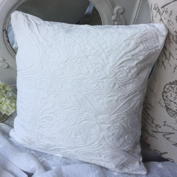 Kissen Bezug Hülle HABAY OFFWHITE 45x45 cm Deko Landhaus Baumwolle Polyester