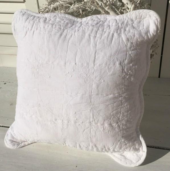 Kissenbezug Larissa 40x40 Cm Weiß Bestickt Shabby Landhaus Baumwolle