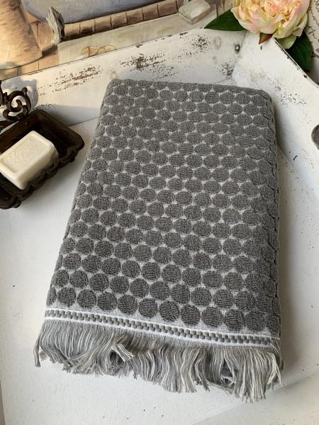 Handtuch PEGGY Grau 50x70 cm Frottee Handtuch Fransen Baumwolle