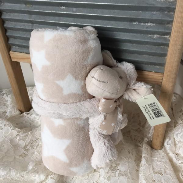 Kuscheldecke Kinder 75x100 + kleines Plüsch Schaf waschbar