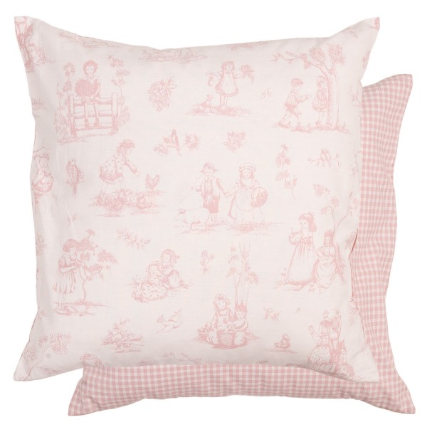 kissenbezug gretel rosa creme 50x50 cm baumwolle kissenbez ge kissen zauberhafter landhausstil. Black Bedroom Furniture Sets. Home Design Ideas