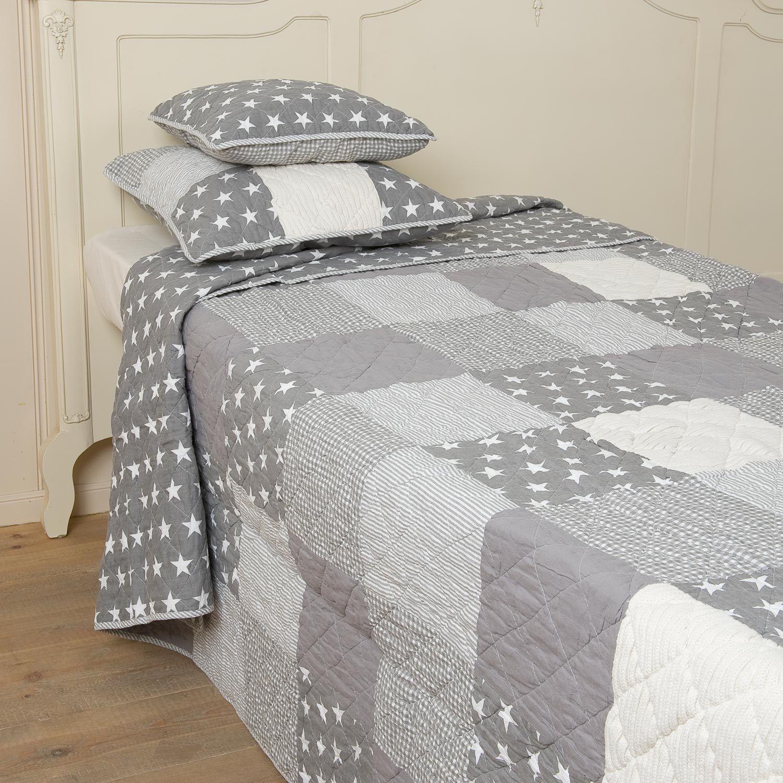 tagesdecke grey stars 140x220 cm grau creme sterne. Black Bedroom Furniture Sets. Home Design Ideas