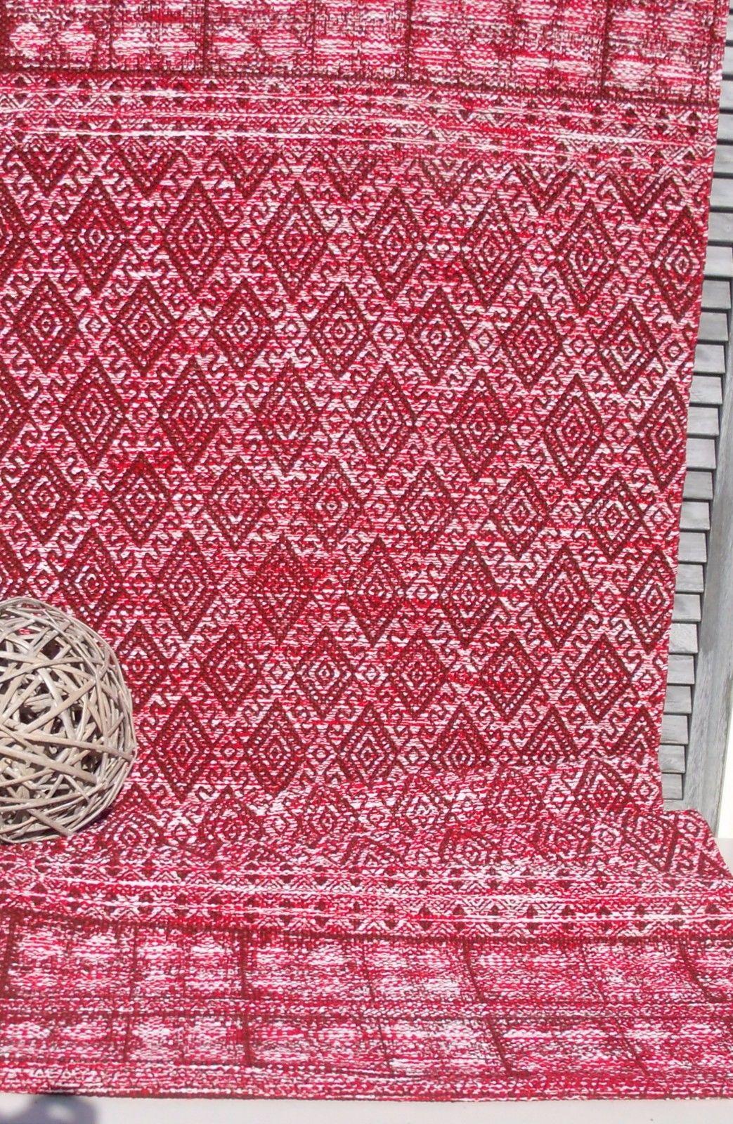 Teppich l ufer antonio rot wei webteppich 60x90 for Teppich landhausstil