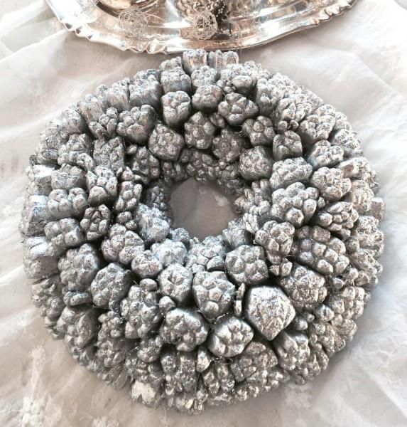 Deko Kranz NICILY Silber Weihnachtskranz Türkranz 30 cm oder 45 cm