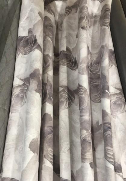 Vorhang JOLIE GRAU Velour 140x250cm 2 Stück Edel Rosen floral Blumen Gardinenschals Vorhangset