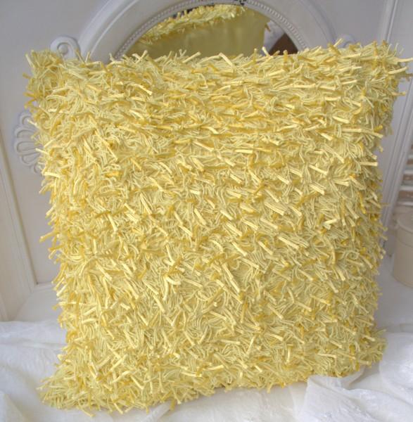 Kissen Shaggy gelb mit Inlett 45x45 Langflor Zottel Fransen Metallic Polyester