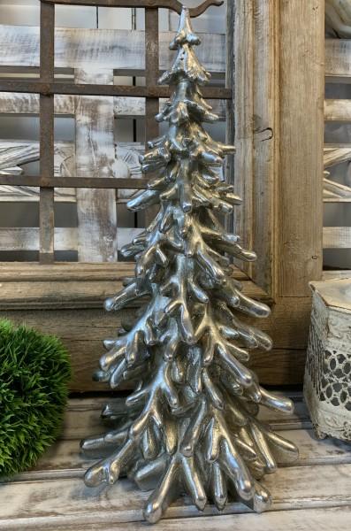 Deko Weihnachtsbaum Antique Silber TOULON Vintage Klein 40 cm Landhaus Shabby