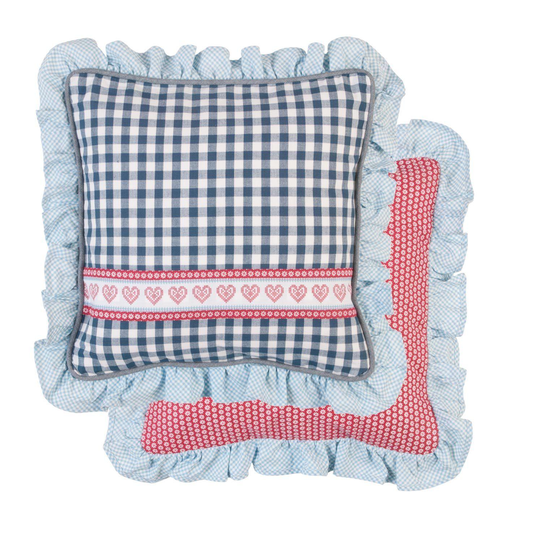 kissenbezug kerry r sche 40x40 cm blau wei rot karo kissenbez ge kissen zauberhafter. Black Bedroom Furniture Sets. Home Design Ideas