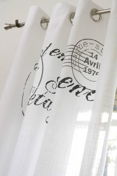 Gardine NICE GRAU 1 x 140 x 250 cm BxL(H) Ösen Schal Weiß Landhaus Vintage Shabby