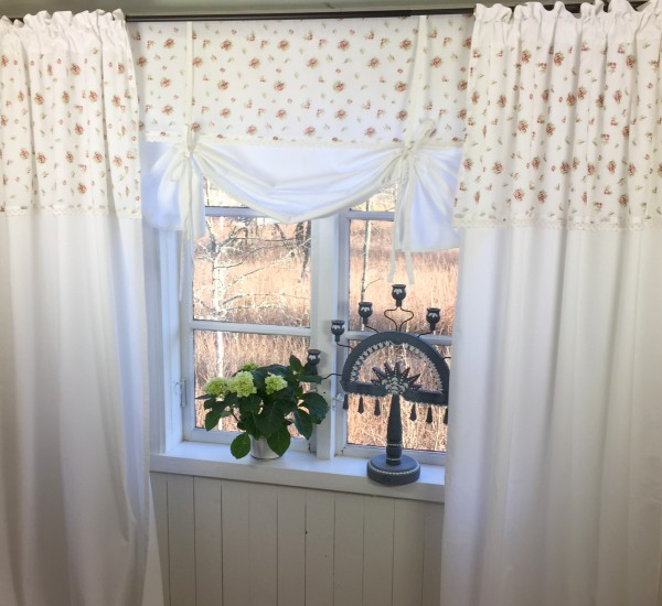 vorhang lena weiss rosen gardine 100x246 cm 2 st ck. Black Bedroom Furniture Sets. Home Design Ideas