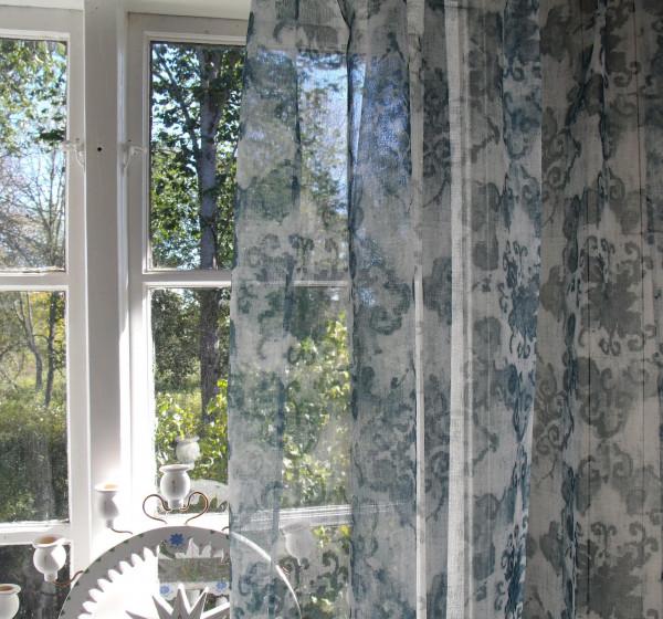Vorhang Petrol Weiß Offwhite 140x245 cm 2 Stück Gardine Dekoschals Gardinenschals