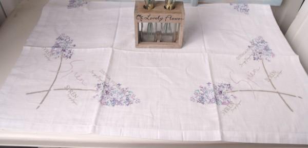 Tischdecke Mitteldecke ELISIA Weiß 85x85cm Blumendruck Flieder rosa lila