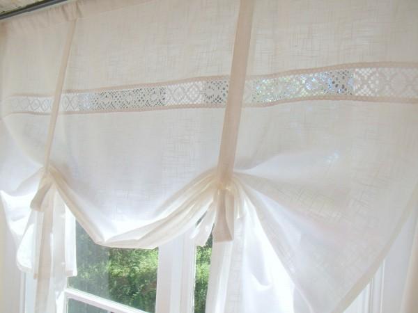 Raff Gardine LINA WHITE 100/120/140/160 cm breit Spitze Weiß Shabby Chic