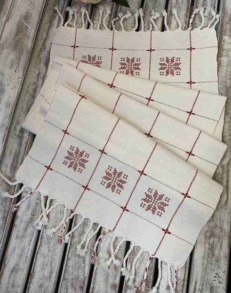 Tischläufer CRISSI Offwhite Rot Stickerei 35 x 120 cm 100% Baumwolle Landhaus