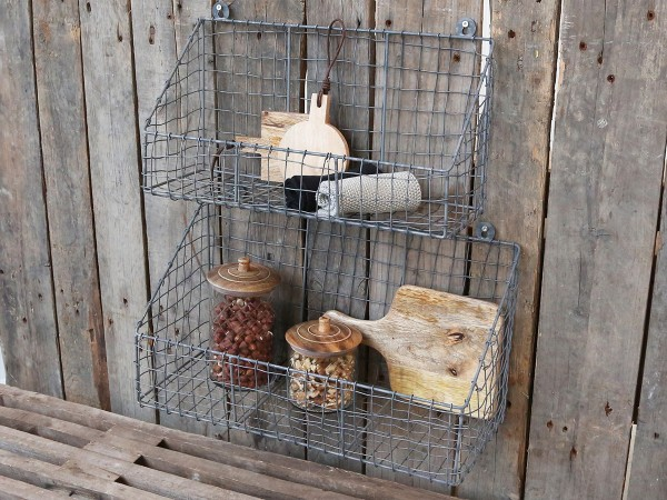 Fil De Fer Wandregal Basket Zink Klein Drahtkorb Metall Aufbewahrung Vintage Shabby Bad Küche
