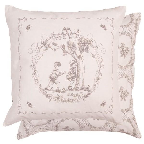 kissenbezug svenja grau 50x50 cm toile de jouy kissenbez ge kissen zauberhafter landhausstil. Black Bedroom Furniture Sets. Home Design Ideas