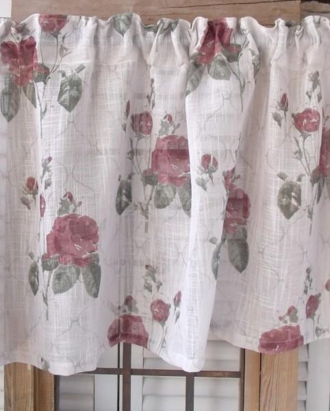 Kurzgardine ROSALIE offwhite Rosen rot Gardine 55x250cm