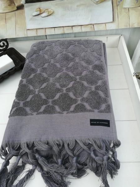 Duschtuch Bade Handtuch DINA Grau 70 x140 cm Fransen