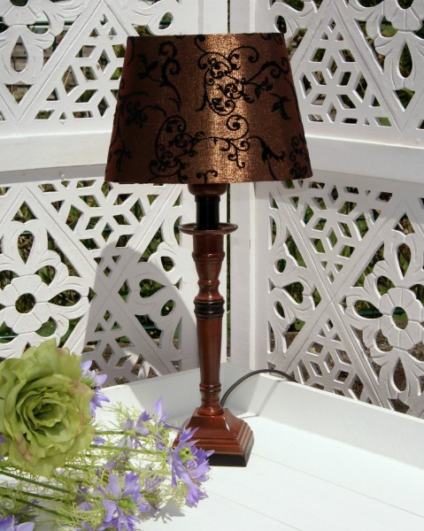Tischleuchte Metall DELHI 41cm E27 Bronze Schwarz Nachttischlampe OVAL