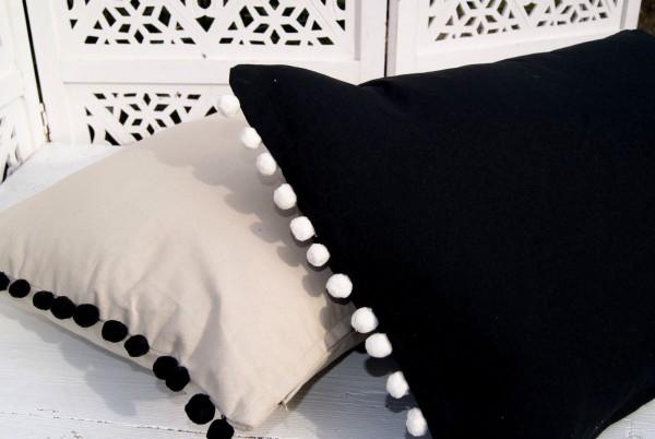 Kissenbezug GIULIA Schwarz Sand Offwhite 40x60 cm Landhaus Baumwolle