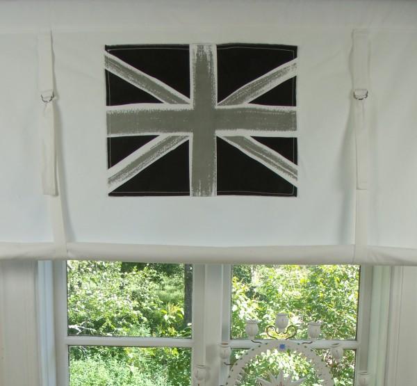 Raff Gardine ENGLAND Rollo weiß grau 116x120 cm Flagge Union Jack