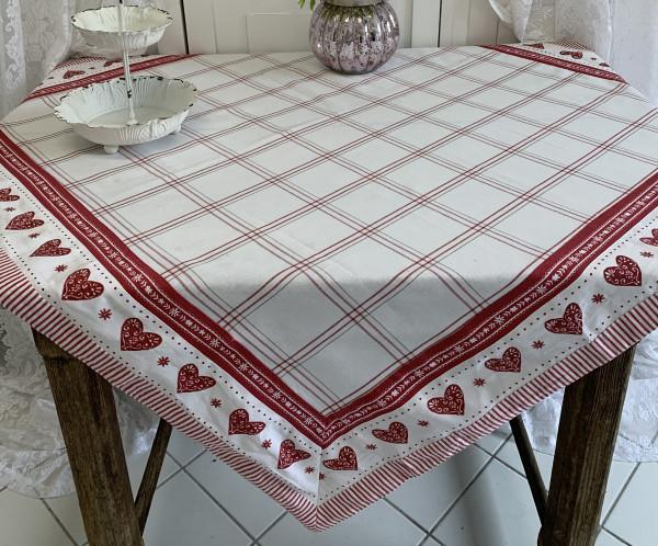 Tischdecke Mitteldecke HERZ KARO Pünktchen Rot Weiß 100 x 100 cm Baumwolle Landhaus
