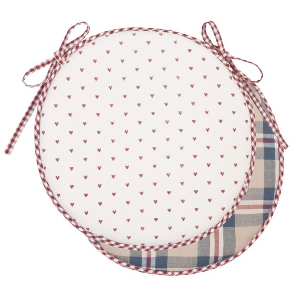 Stuhlkissen KARO LINDI BLAU RUND 40x40 weiß blau rot Baumwolle Polyester