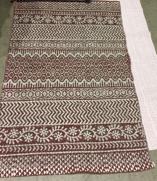 Teppich Laufer Rom Rostrot Grau Webteppich 70x200 Flickenteppich