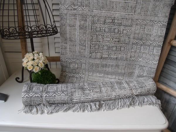 nicht mehr lieferbar Teppich Läufer ETHNO Grau Weiß Webteppich in 2 Größen