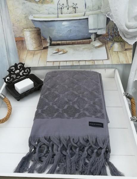 Handtuch DINA Grau 50x70 cm Frottee Handtuch Fransen