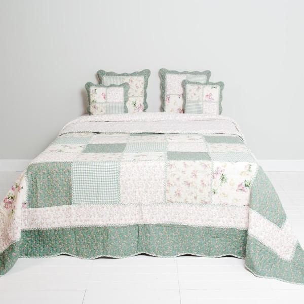 Tagesdecke EVEN GREEN 230x260 Grün&Weiß Patchwork Sofaüberwurf Doppelbet