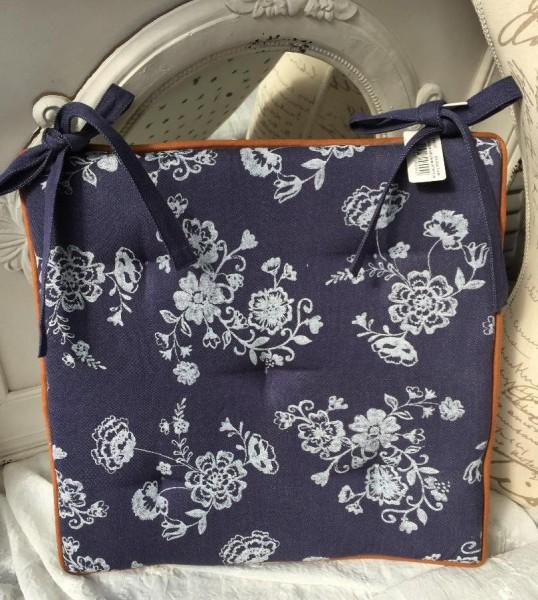 B-Ware Stuhlkissen JEANS Blau Weiß 40x40 Jeans-Style Streublümchen floral Vintage Baumwolle Polyeste