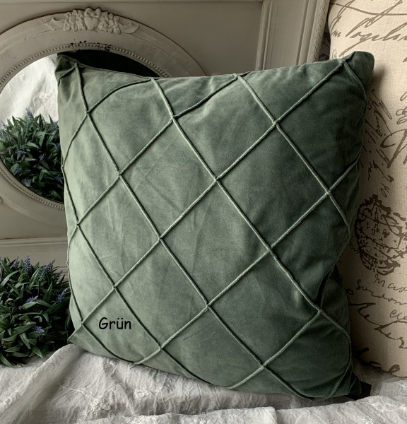 Kissen Bezug Hülle Jonny Samt Grün 50x50 cm Deko Landhaus Polyester