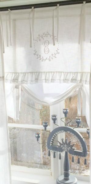 WEIß Raff Gardine CRYSTAL NY 160x90 cm Scheiben Küchen Gardine Vorhang Vintage Bandaufhängung