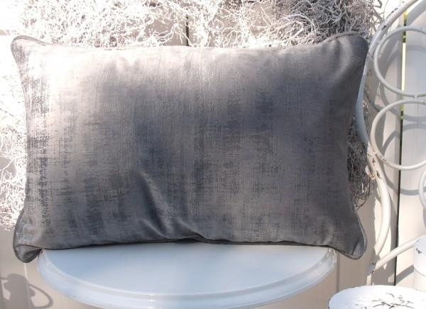 Samt Kissen Bezug Hülle CHARME 30x50 cm GRAU Glanz Schimmer Polyester