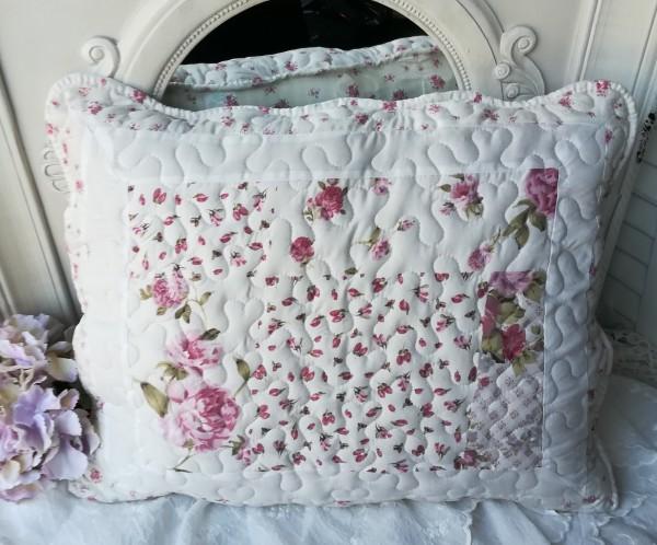 Flower ROSE Kissenbezug 50x60 Weiß rosa Landhaus