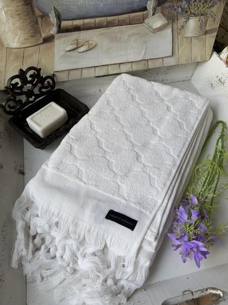 Bade Dusch Handtuch DINA Offwhite 70x140 cm Frottee Handtuch Fransen