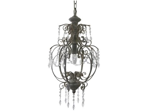 Kronleuchter KATE antik grau handgemacht E14 Deckenlampe Hängelampe Acrylglas
