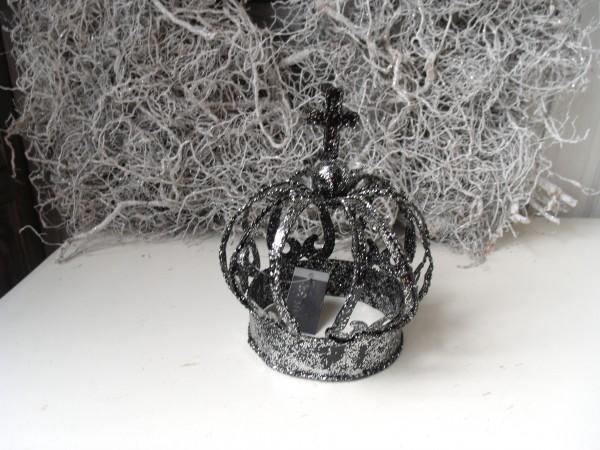 Deko Krone GLITTER schwarz 19x15cm modern stylisch