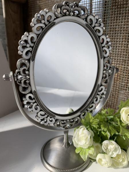 Standspiegel Silber Perlmutt 25 cm mit Glitzersteinchen Romantik Edel verspielt Landhaus