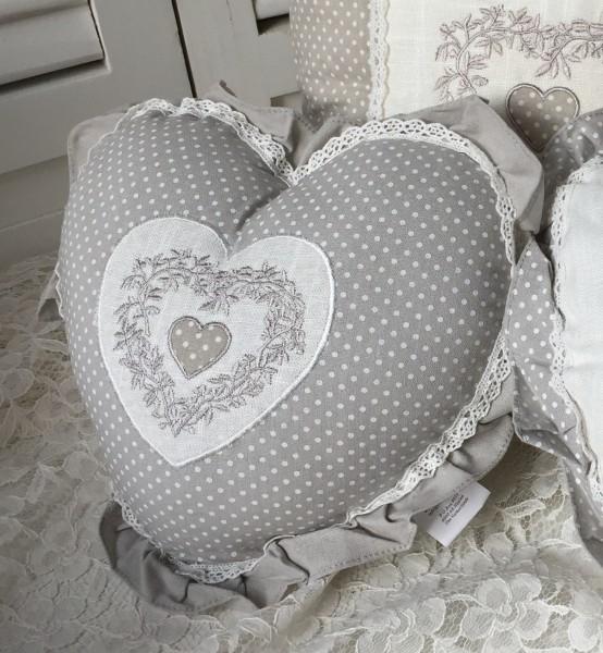 Kissen ELIAS POINT 33x33 cm bestickt grau offwhite incl. Inlett Baumwolle